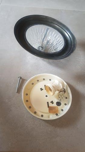Plafonnier laiton et verre