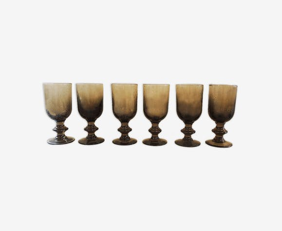 6 vintage glass foot glasses in smoked bullé from Biot