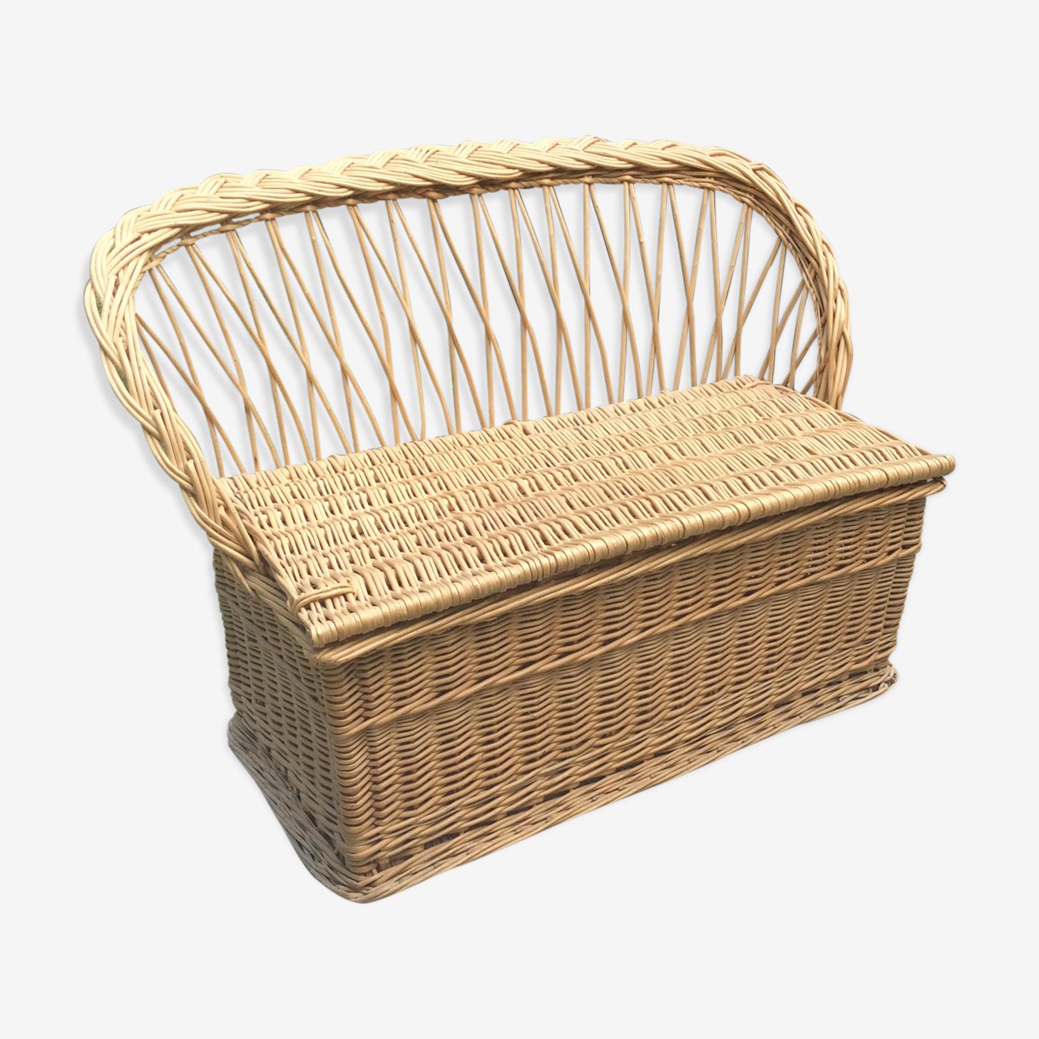 Toy box bench vintage rattan