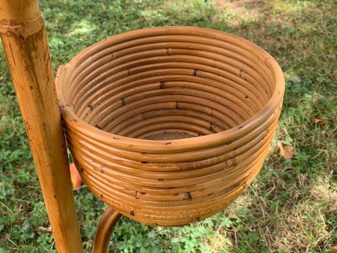 Porte plante en bambou et rotin 1970