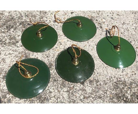 Suspension vintage en tôle émaillée style industriel vert et blanc fils dorés et douille neufs