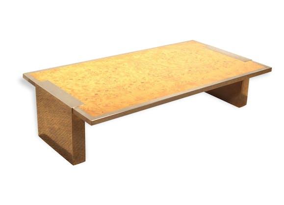 grande table basse vintage acier chrom et loupe d 39 orme. Black Bedroom Furniture Sets. Home Design Ideas