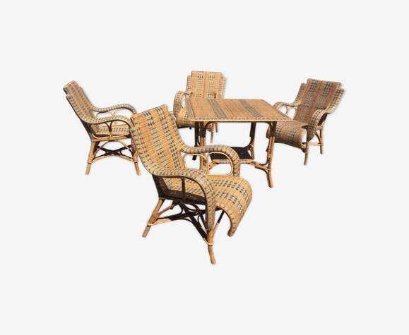 Salon de jardin en rotin - rotin et osier - beige - vintage - KsyoEo6