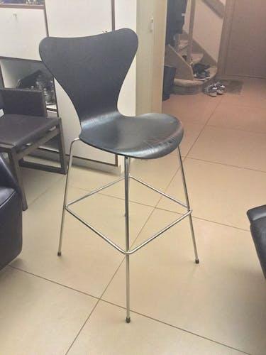Bar stool Arne Jacobsen for Fritz Hansen series 7 black