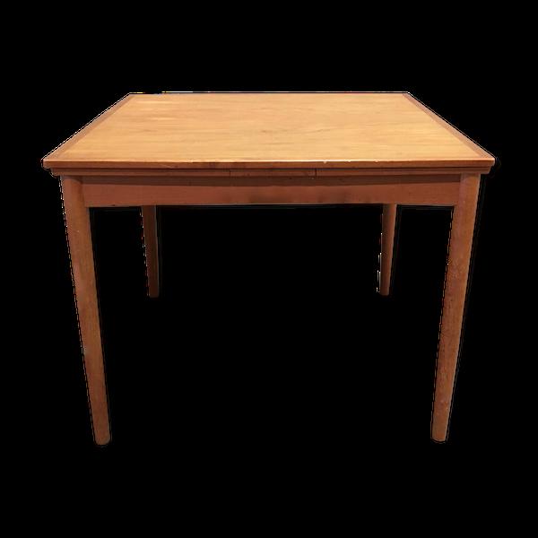 Table haute teck scandinave avec rallonges et estampille 1950