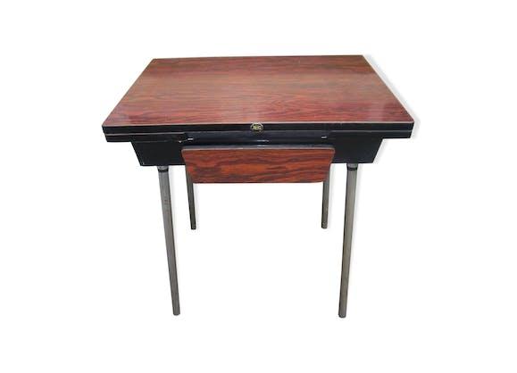 Table de cuisine ROC avec rallonges et tiroir en formica marron ...
