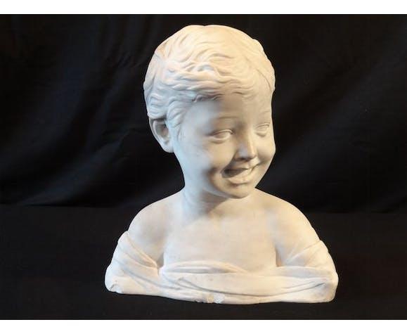 Buste d'enfant en marbre XIXème
