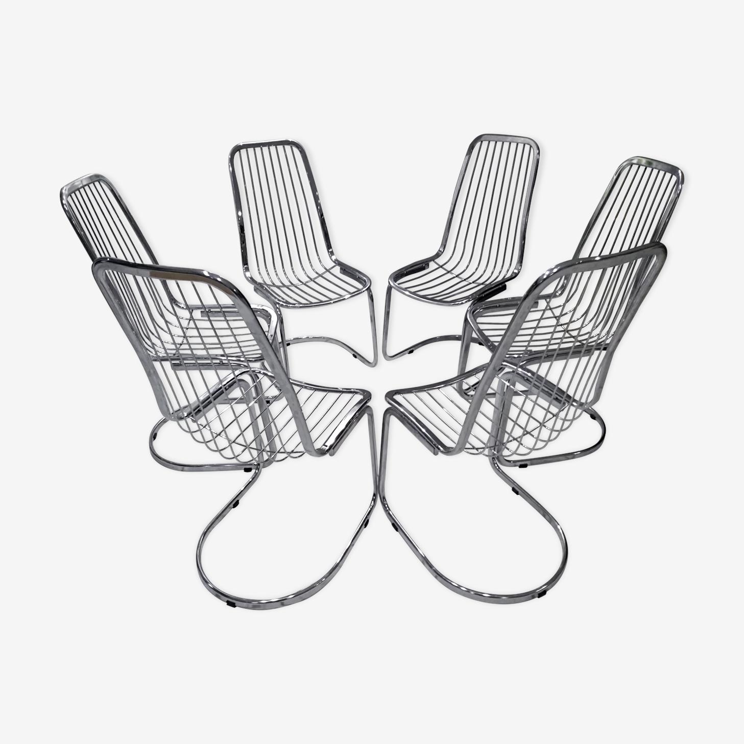 Set of 6 chairs design vintage 1970