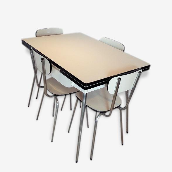 Ensemble Table Et Chaises De Cuisine Formica Formica Blanc