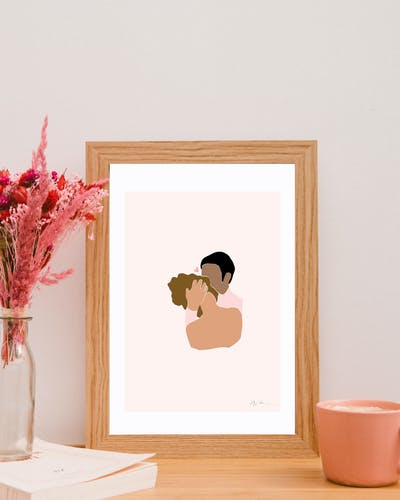 Illustration Amour - Le câlin