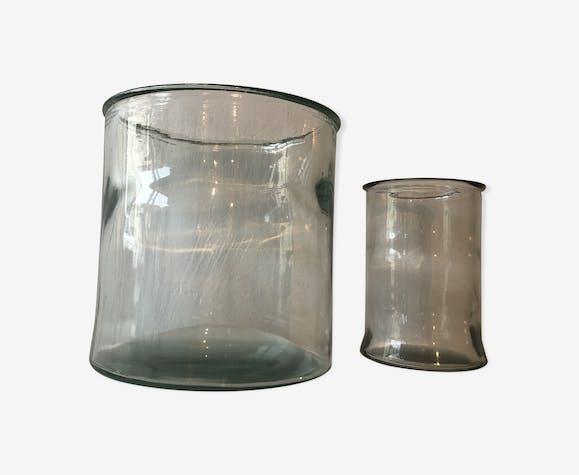 Duo de bocaux en verre anciens vintage