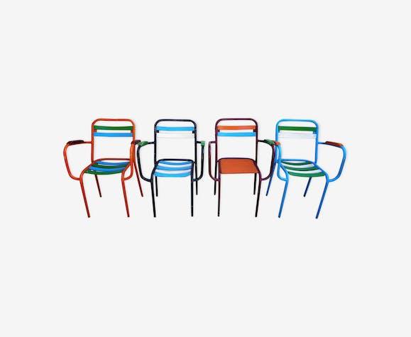 lot de 4 chaises tolix avec accoudoirs m tal multicolore industriel wvvwfye. Black Bedroom Furniture Sets. Home Design Ideas