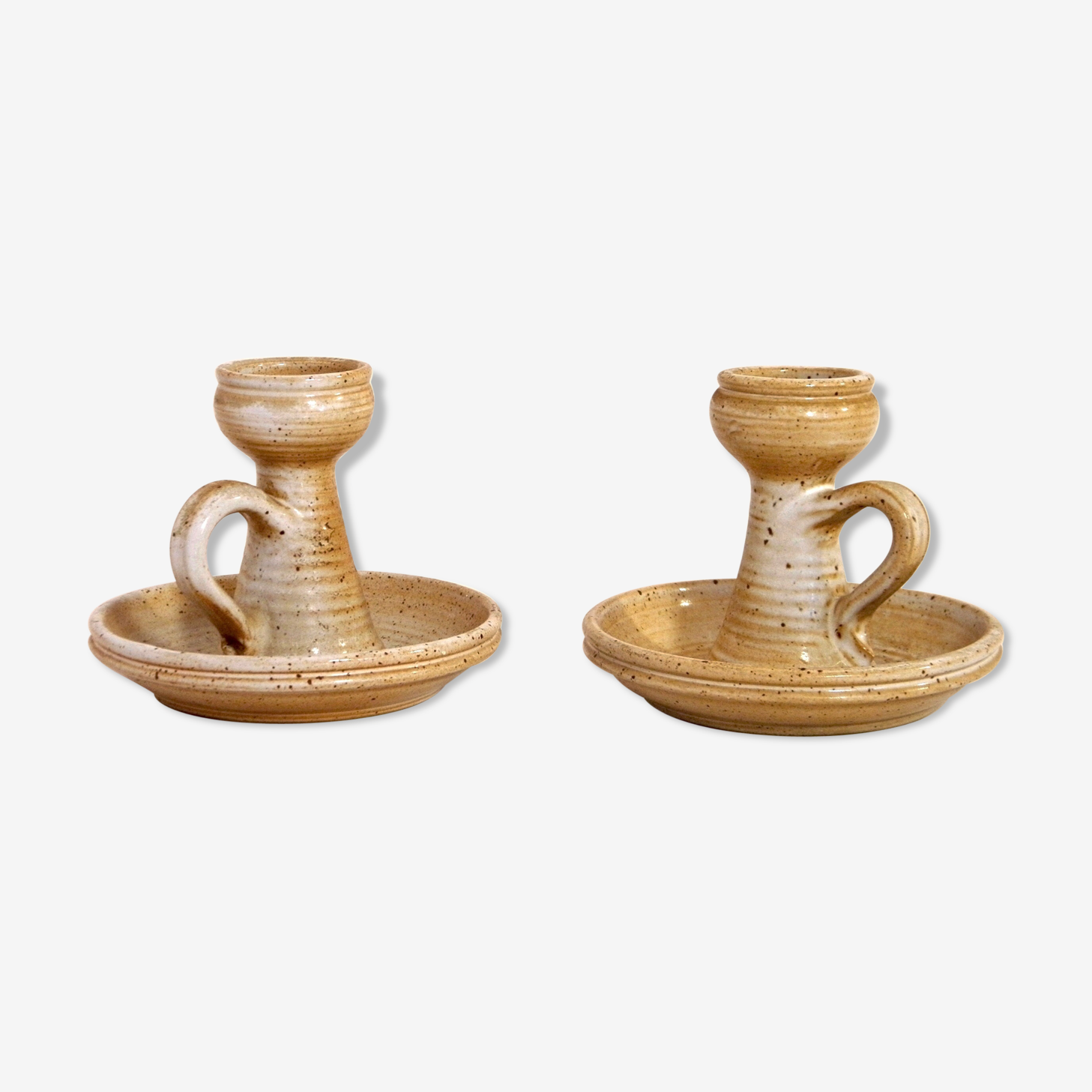 Two candle holders sandstone 70s