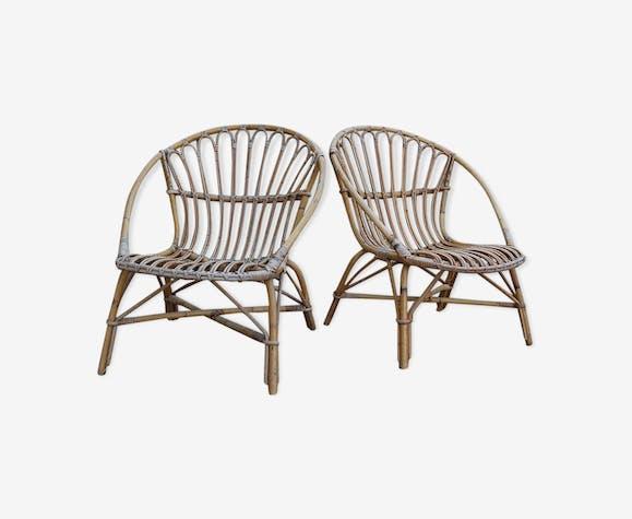 Paire de fauteuils vintage corbeille en rotin