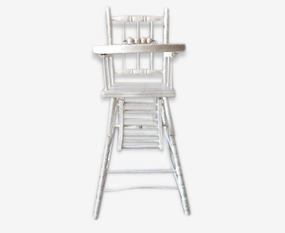 Chaise haute enfant b b ancienne ann es 40 en bois - Chaise haute en bois ancienne ...