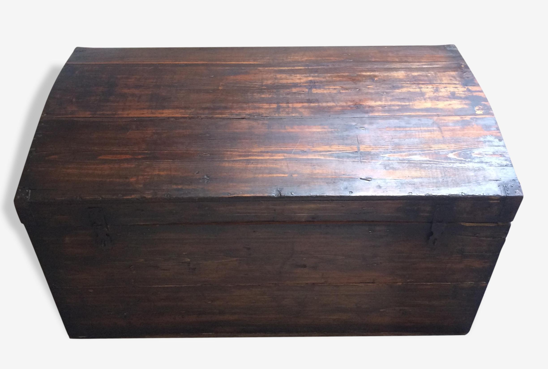 Grand coffre ancien en bois & métal