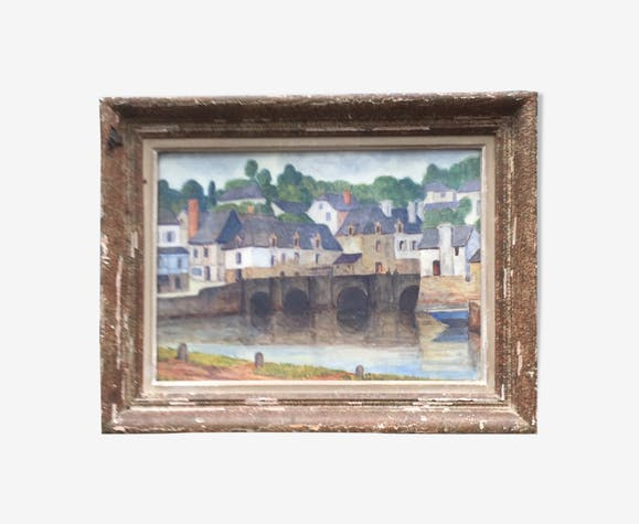 Tableau peinture aquarelle encadrée des années 30