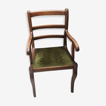 Fauteuil de bureau en bois et velours vert