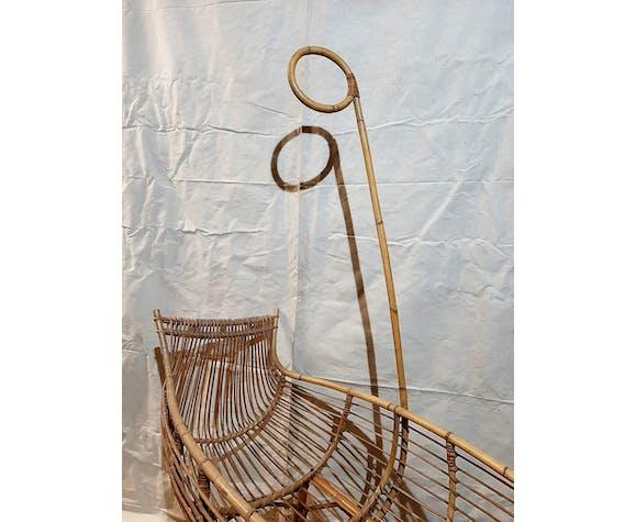 Berceau vintage en rotin à roulettes - années 60/70 - avec flèche de lit