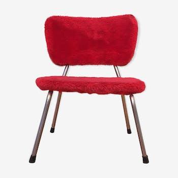 Chaise enfant fourrure moumoute rouge Pelfran vintage 60/70