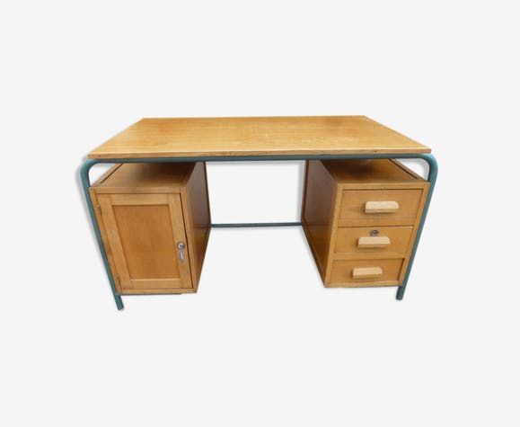 ancien bureau de ma tre d 39 cole ann es 70 bois mat riau marron vintage skzdvsk. Black Bedroom Furniture Sets. Home Design Ideas