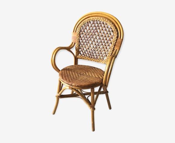fauteuil en rotin adulte vintage 1970 rotin et osier. Black Bedroom Furniture Sets. Home Design Ideas