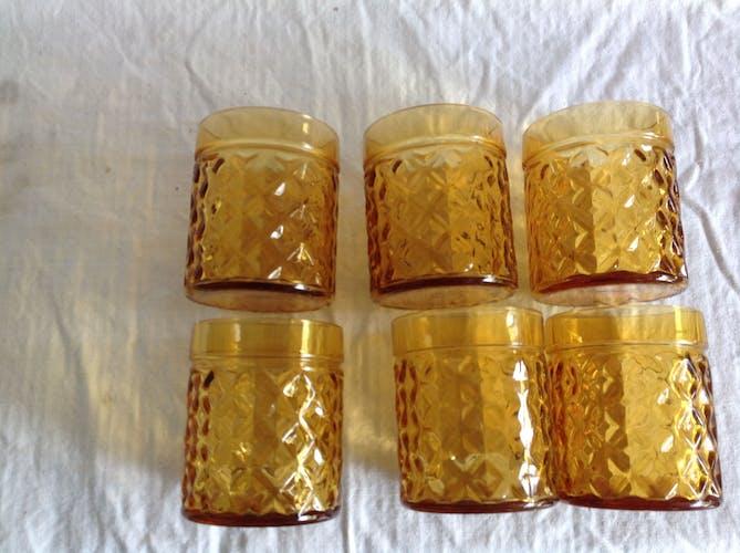 """Série de 6 verres vintage """"ananas"""""""