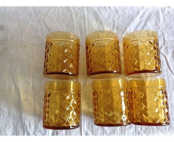 "Series of 6 vintage glasses ""pineapple"""