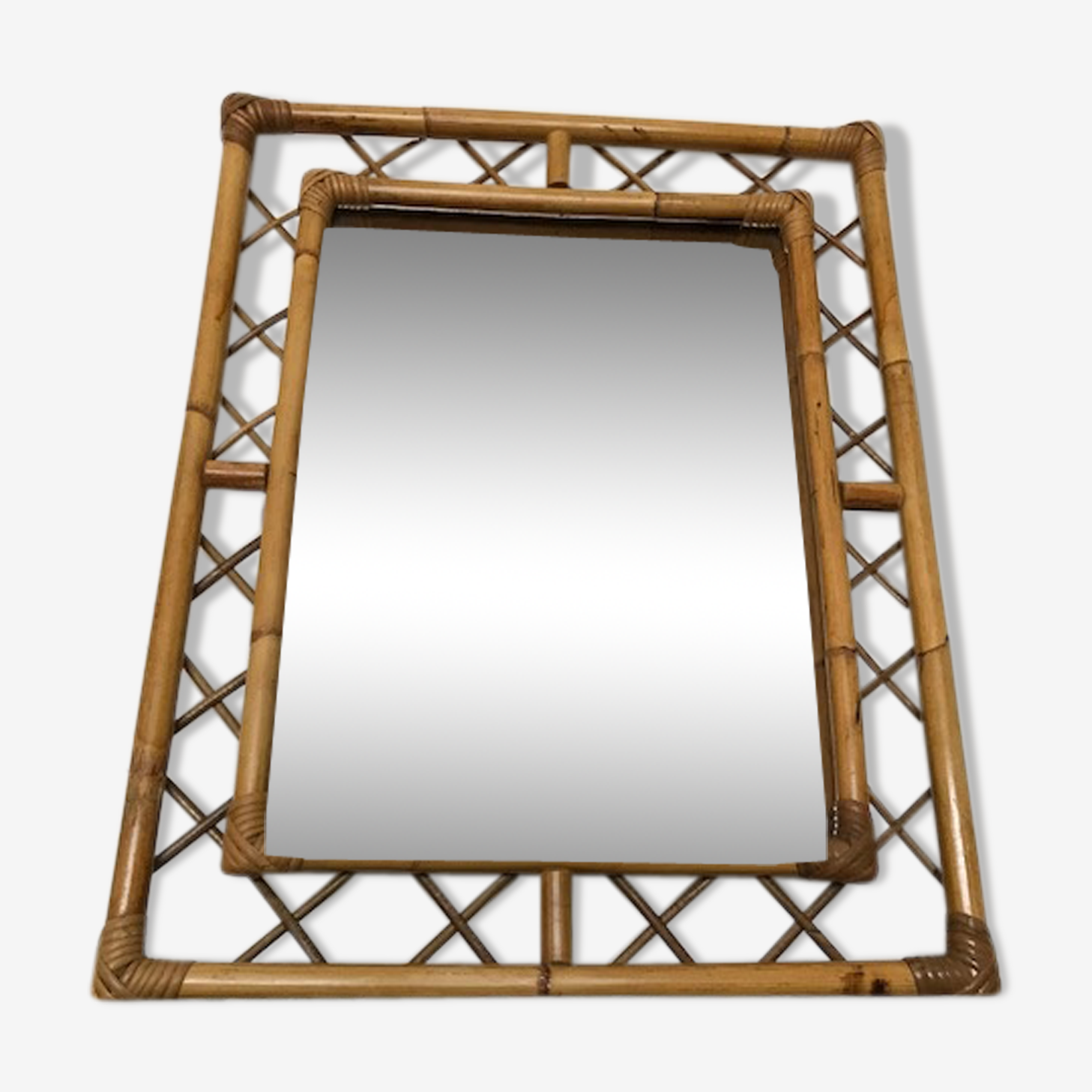 Miroir vintage en rotin 51x66cm