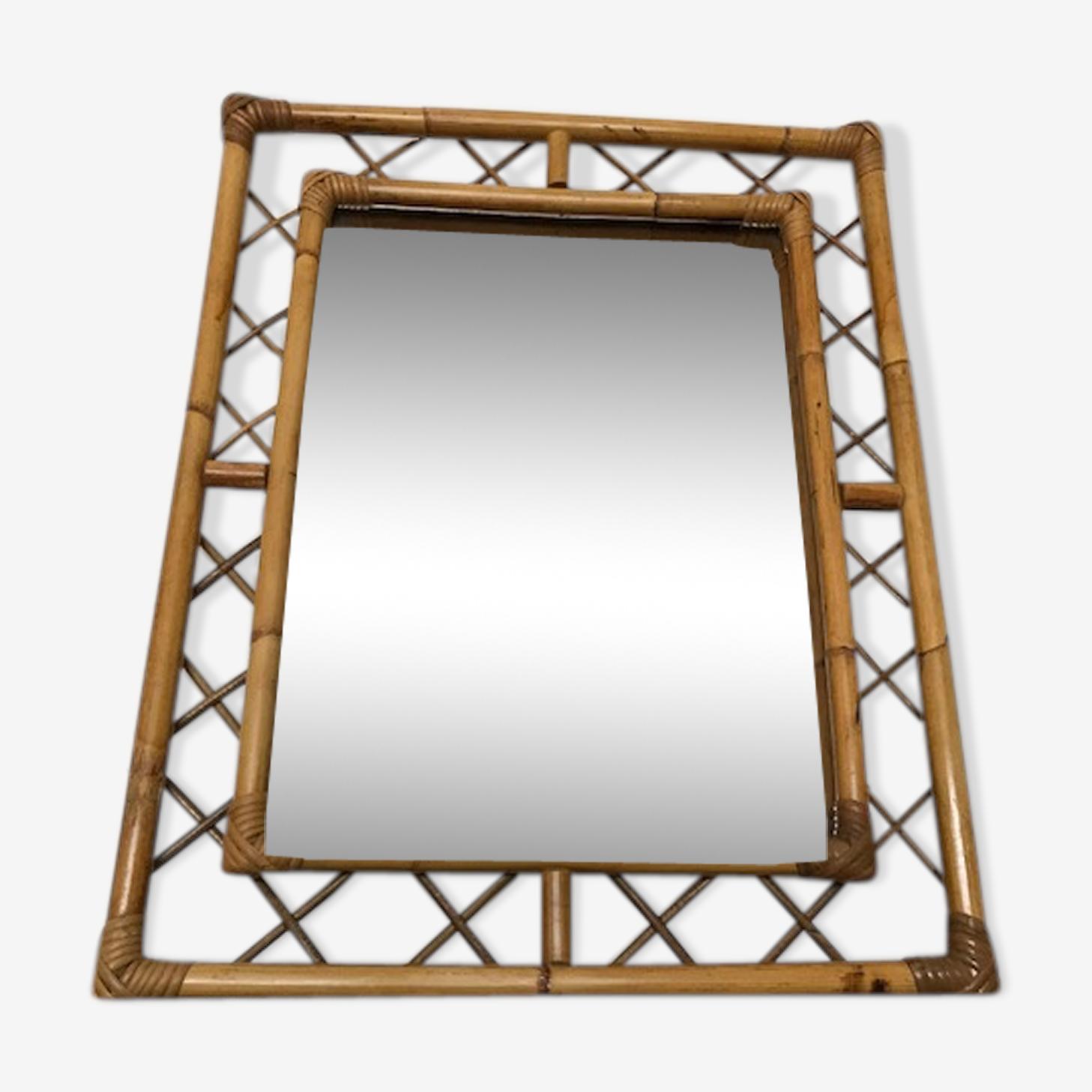 Vintage rattan mirror  51x66cm