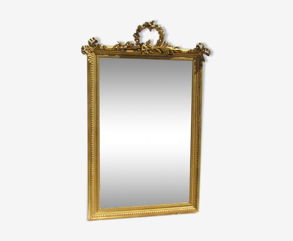 Miroir 19ème en bois et stuck doré 88x133cm