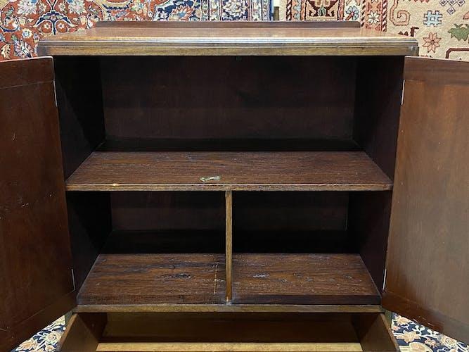 Meuble anglais 2 portes et tiroirs en acajou - années 30