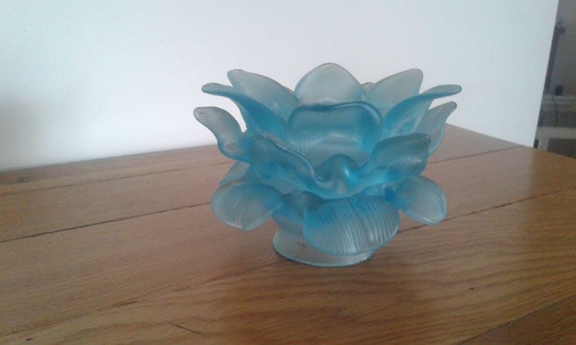Abat jour verre bleu, forme  fleur