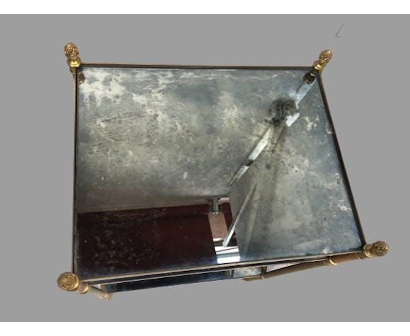 Table d'appoint à trois plateaux - années 70 - laiton doré et miroir vieilli