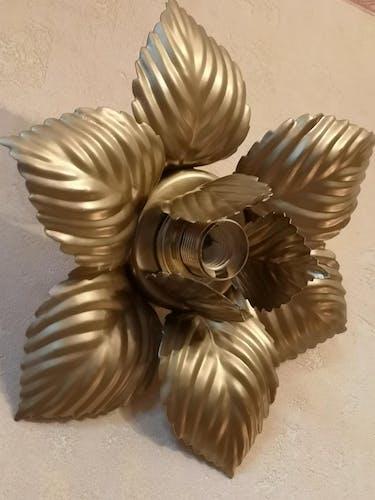 Applique murale plafonnier fleur en métal doré masca italie 1970