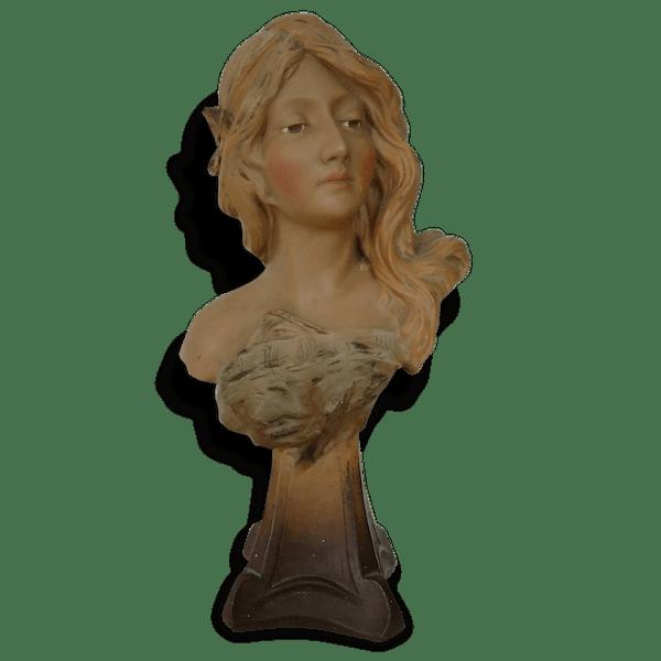 magnifique buste femme pl tre art nouveau sign gustave van vaerenbergh pierre et pl tre. Black Bedroom Furniture Sets. Home Design Ideas