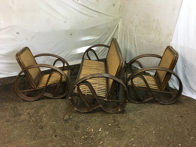 Banquette et fauteuils en bambou