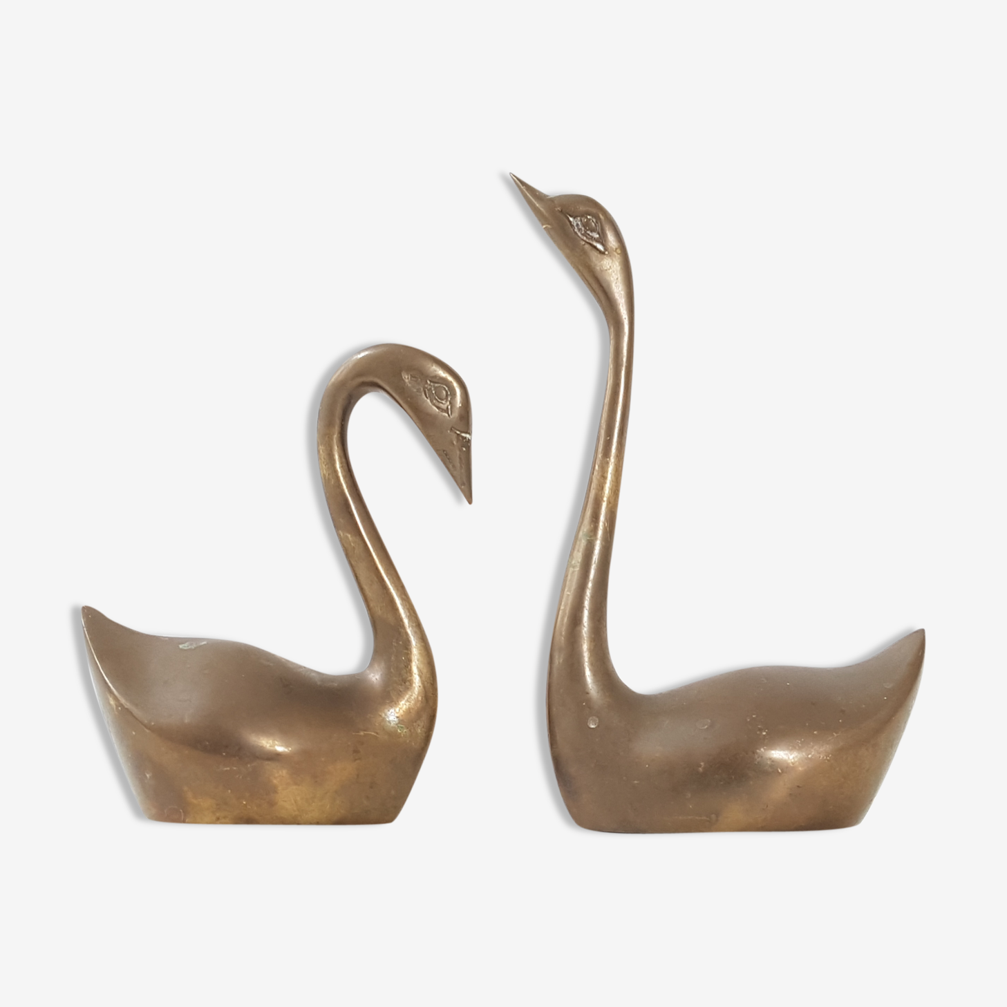 Pair of swans brass 1970