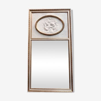 Miroir trumeau avec bas relief style Louis XVI 106 x 201 cm
