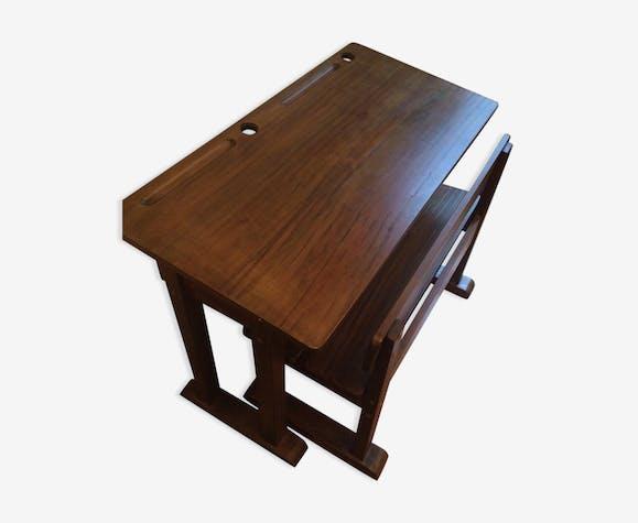 Bureau d'écolier pupitre et banc en bois