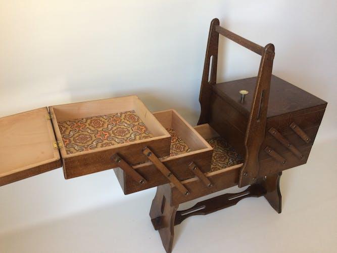 Rustic dark wood sewing basket