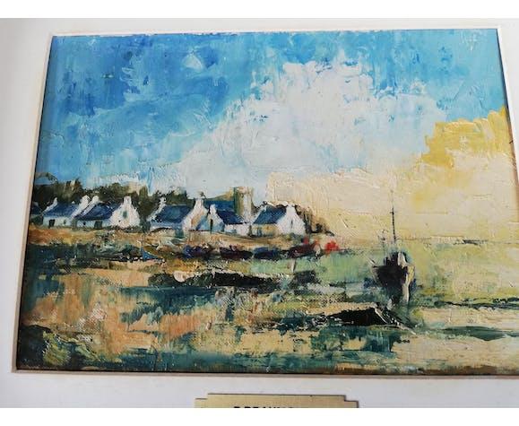 Tableau peinture sur carton Morbihan F. Beaumont