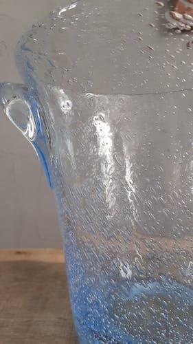 Seau à champagne en verre bleu bullé année 50/60