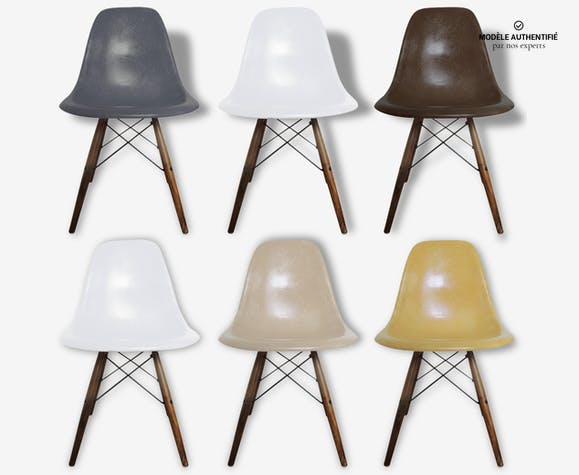 lot de 6 chaises eames dsw original vintage fibre de verre multicolore design 124797. Black Bedroom Furniture Sets. Home Design Ideas