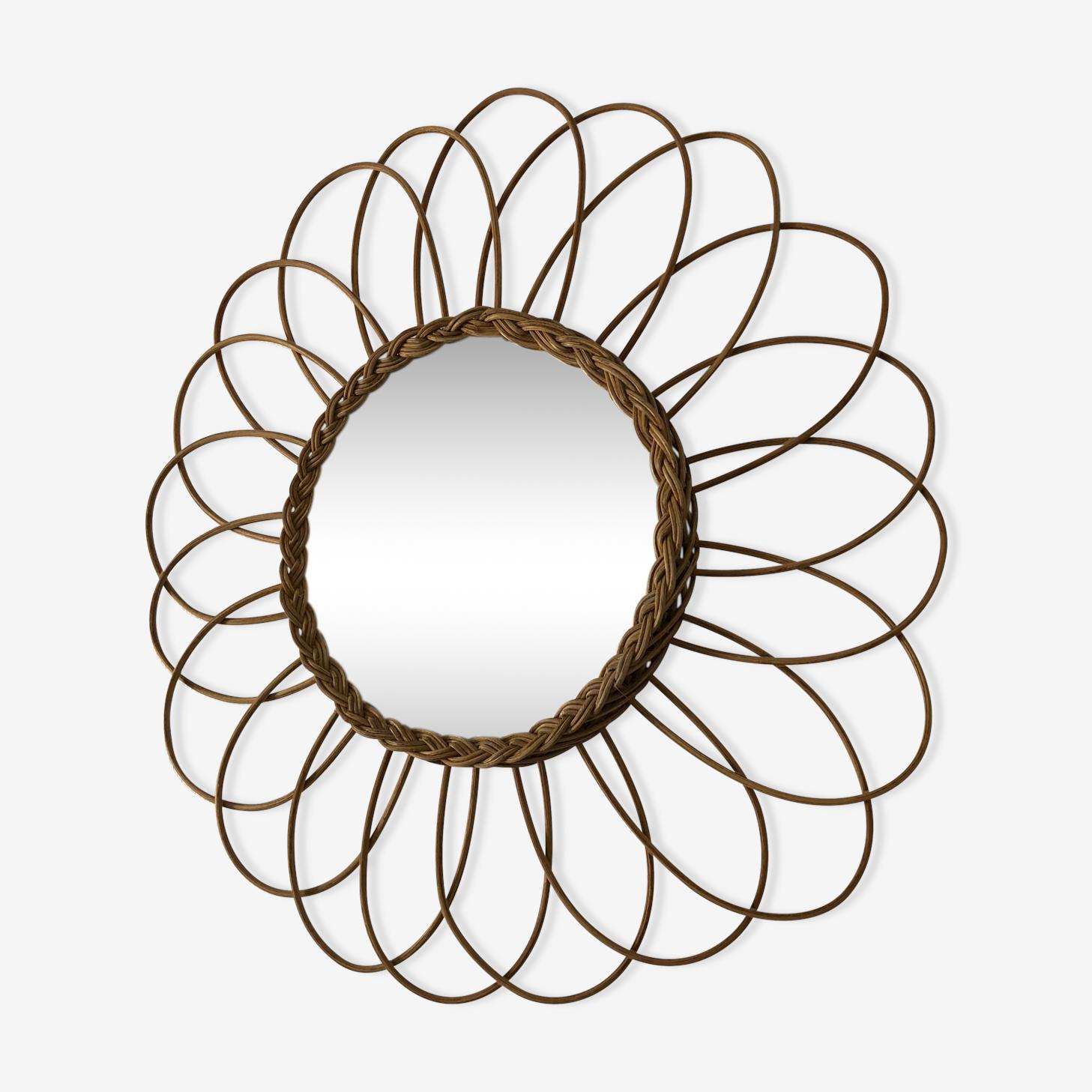 Miroir soleil fleur rotin 42x42cm vintage 1960
