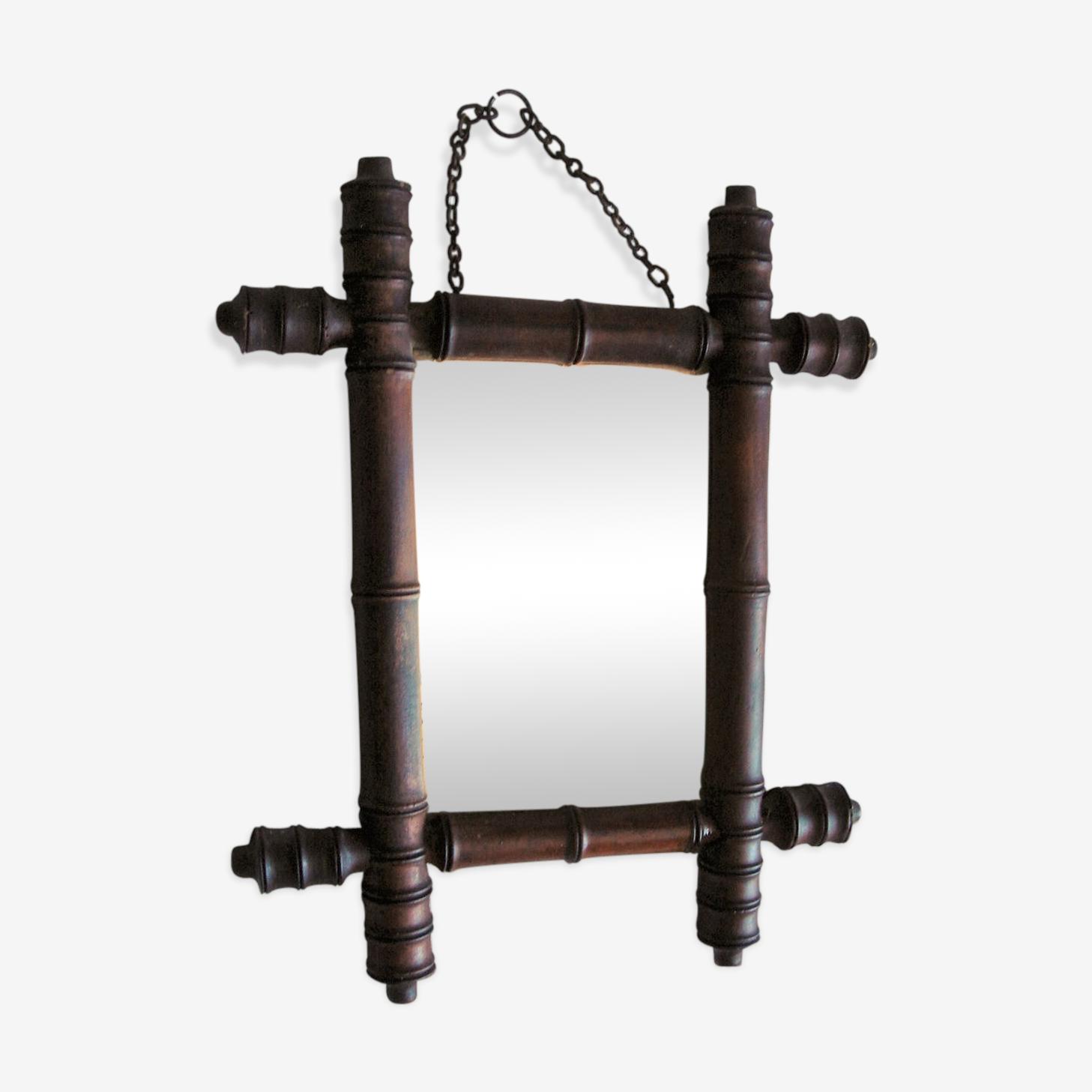 Miroir bambou bois tourné chaînette années 30 - 29x37cm
