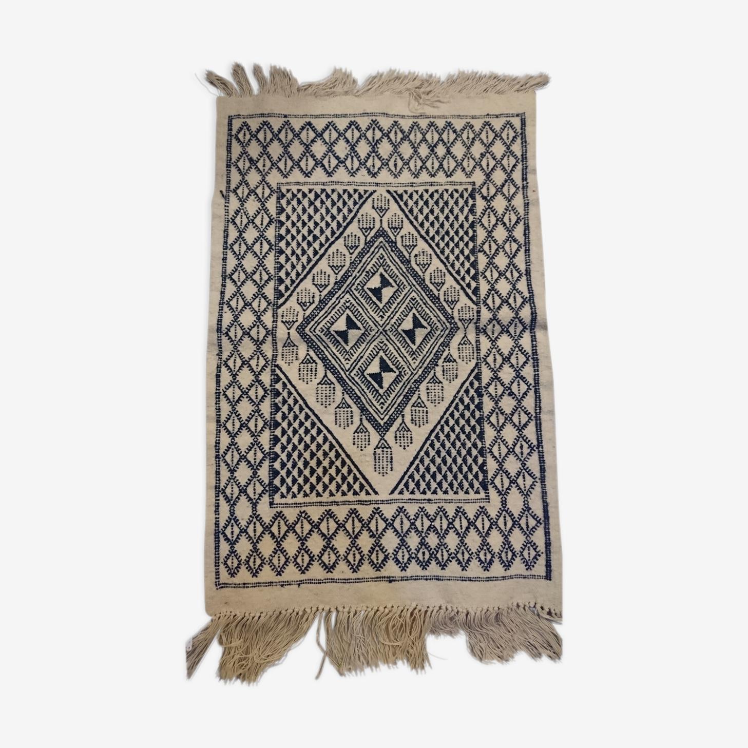 Tapis berbère fait à la main en pure laine bleu et blanc