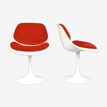 """Paire de chaises """"Tulipes"""" pivotantes en fibre de verre 1970s"""