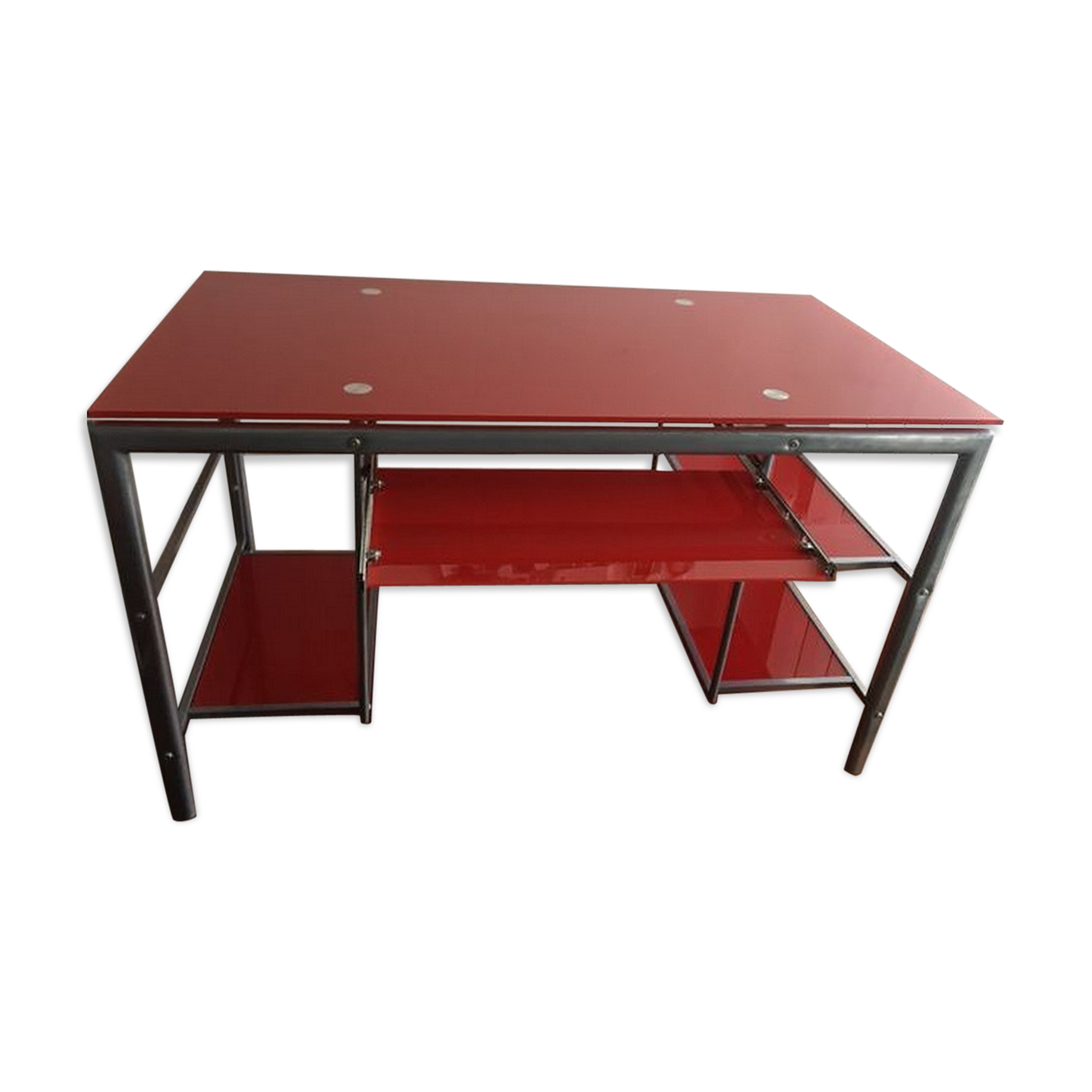Bureau En Verre Rouge : Bureau en verre et aluminium verre et cristal rouge