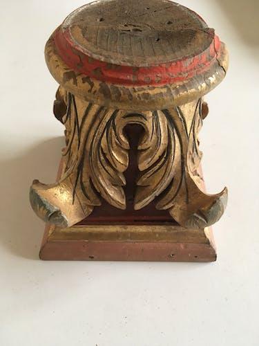Chapiteau de colonne corniche en bois doré feuilles acanthe 19e